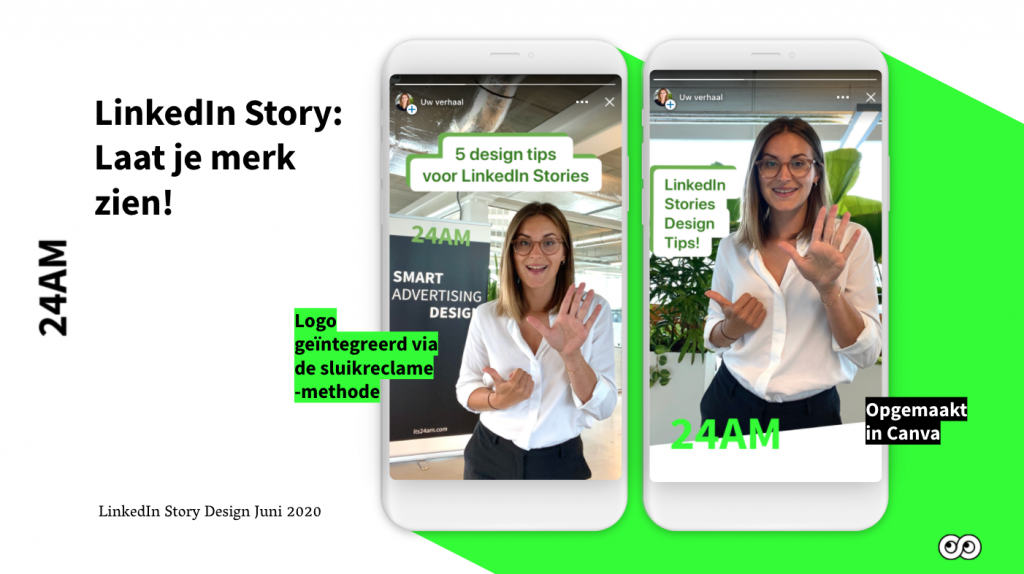 LinkedIn Story design creatie tips sluikreclame canva merk